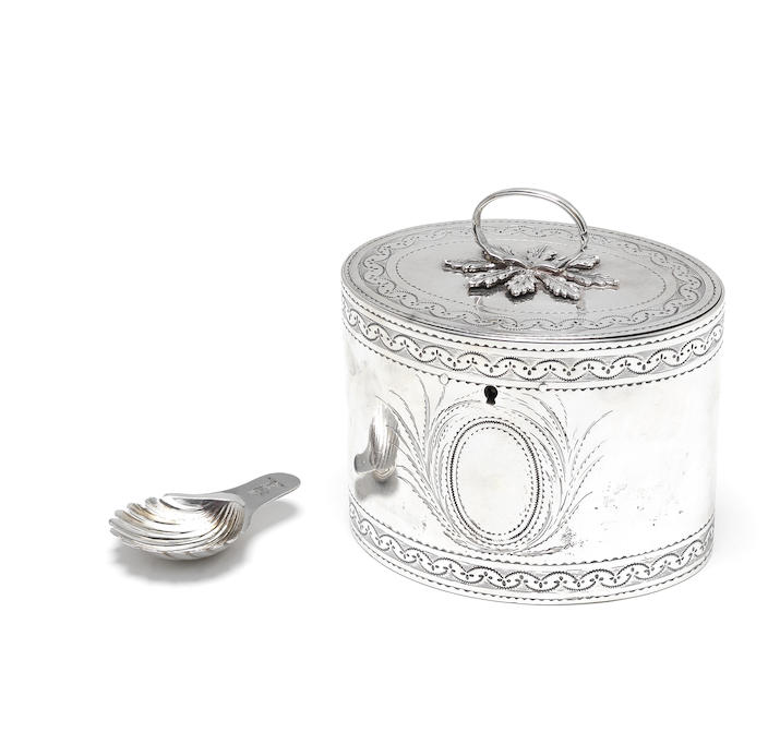 A George III silver locking tea caddy