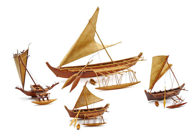 Four Model Outrigger Canoes, Micronesia