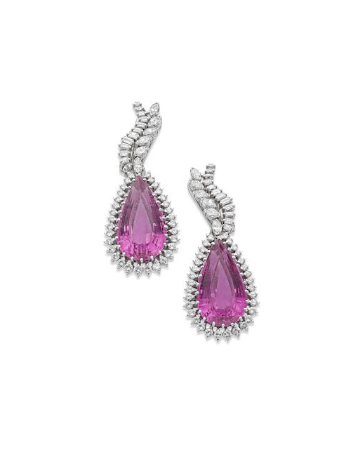 A pair of pink tourmaline and diamond pendent earrings