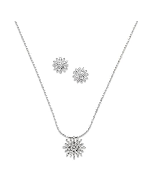 A diamond pendant and pair of diamond earrings