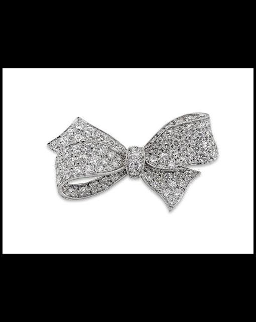 A diamond bow brooch
