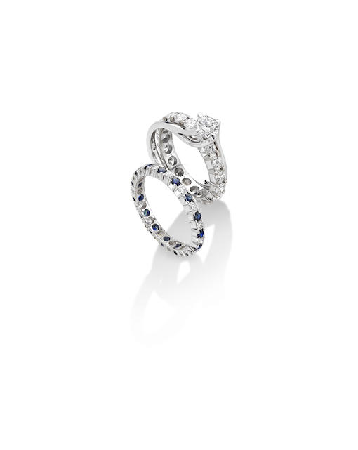 A sapphire and diamond ring suite