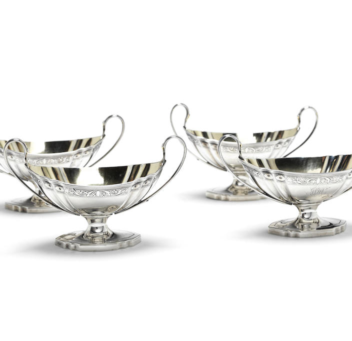A set of four George III silver two-handled salts