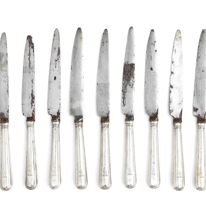 Twenty-three George III silver table knives