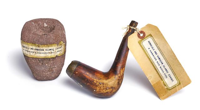 Historically Important Pipe and Oil Lamp, Hawaiian Islands