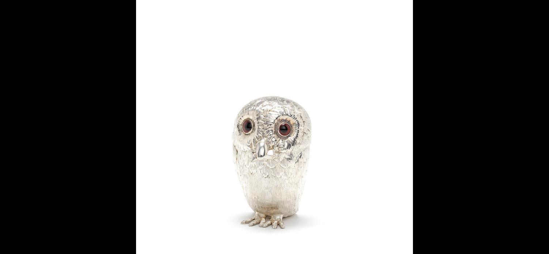 A Victorian novelty silver owl mustard pot