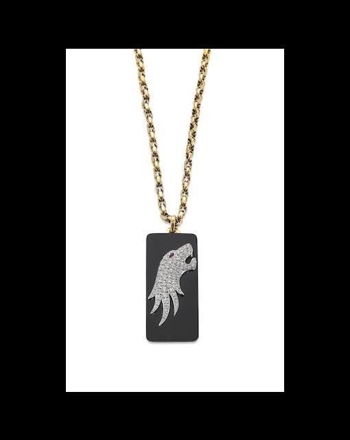 An onyx and diamond pendant