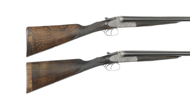 A pair of 12-bore side-plated boxlock ejector gun by Armstrong & Co., no. 41251/2