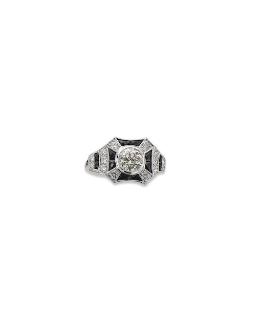 An Art Deco style onyx and diamond ring