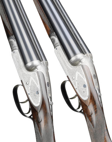 A pair of 12-bore sidelever sidelock ejector guns by Stephen Grant & Sons, no. 6797/8