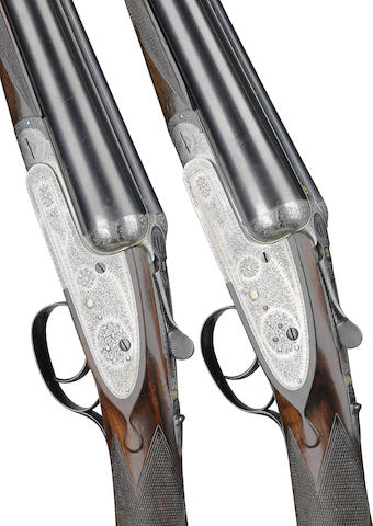 A composed pair of 12-bore single-trigger sidelock ejector guns by J. Lang, no. 13824/14461