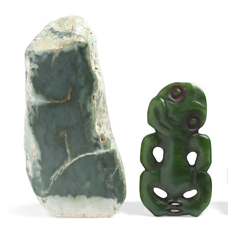 Maori Anthropomorphic Pendant, New Zealand Together with a Nephrite Jade Stone