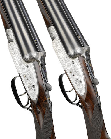 A pair of 12-bore 'Imperial Ejector' sidelock ejector guns by Lang & Hussey Ltd., no. 13007/8