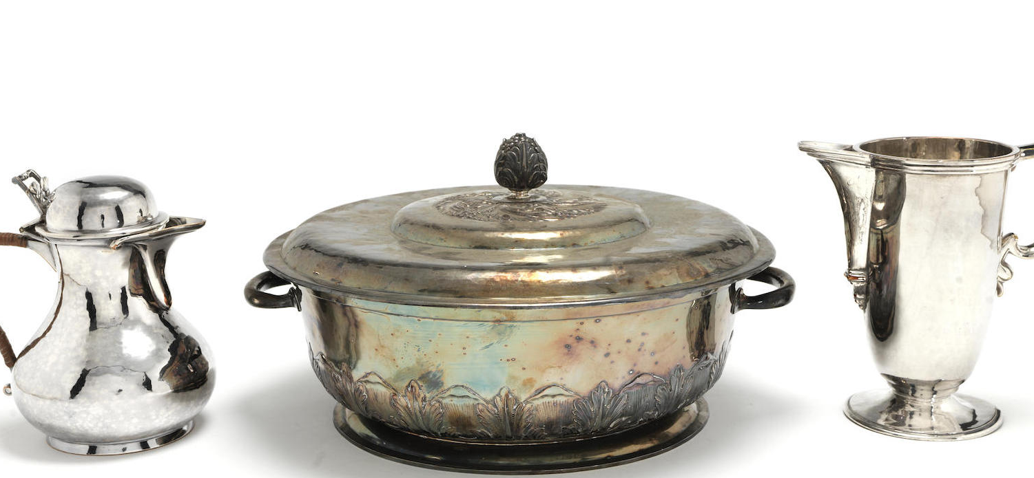 A large silver plate two-handled tureen and cover