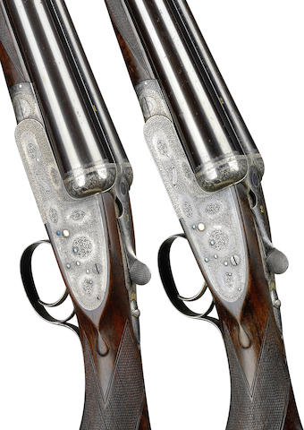 A fine pair of 12-bore single-trigger easy-opening sidelock ejector guns by Boss & Co., no. 6673/4