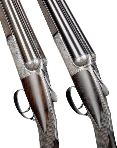 A fine pair of 12-bore single-trigger round-action ejector guns by J. Dickson & Son, no. 5860/1