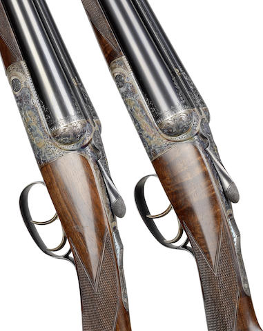 A fine pair of 12-bore round-action ejector guns by David Mckay Brown, no. 7487/8