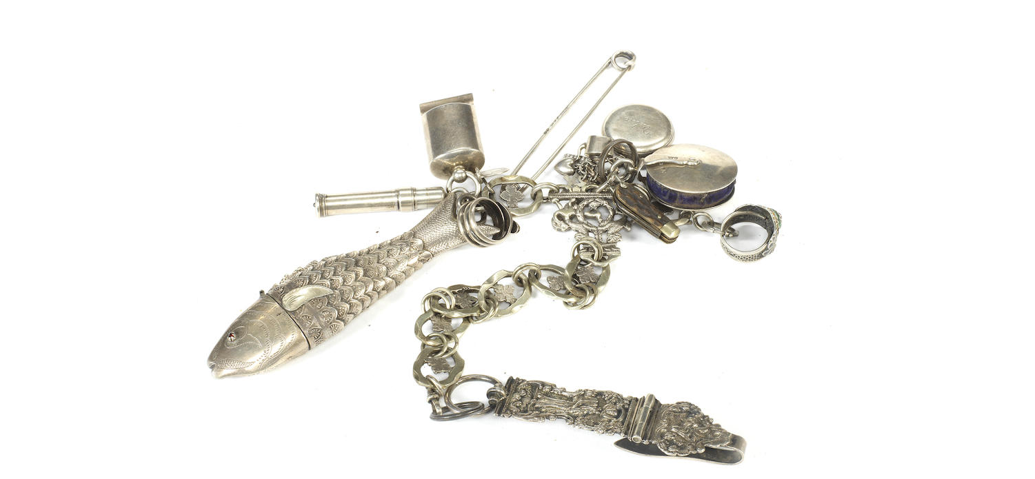 A 19th century silver chatelaine