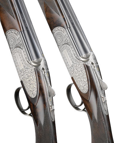 A pair of 20-bore 'Field Grade' single-trigger side-plated over-and-under ejector guns by Anderson Wheeler, No. 8940/1