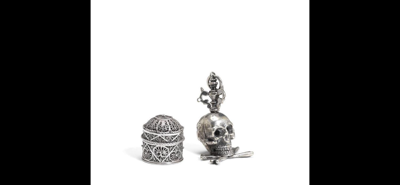 A 17th century silver momento mori spice box