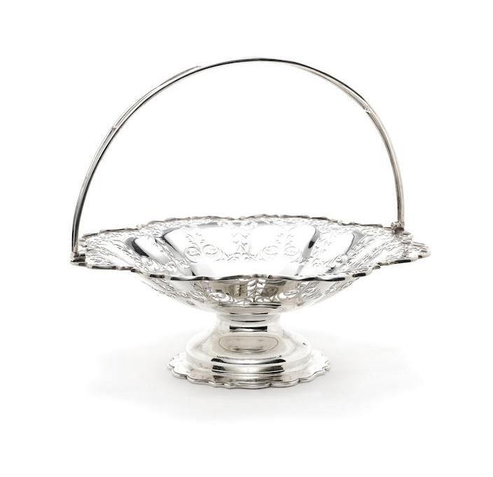 A George V silver swing-handled basket