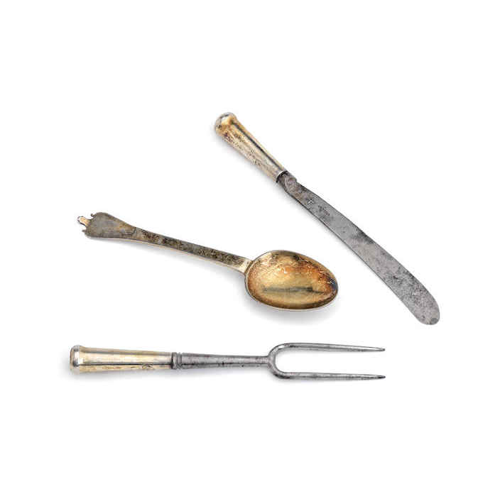 A late 17th century small silver-gilt trefid spoon