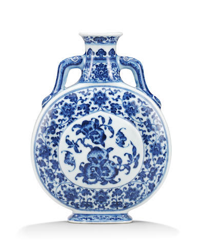 A rare imperial Ming-style blue and white 'peach' moonflask, bianhu