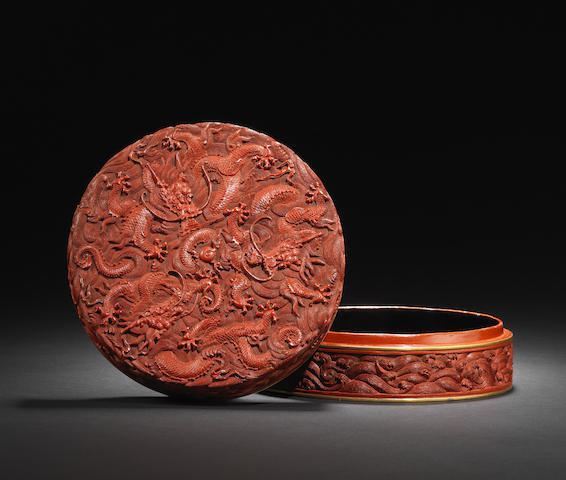 A cinnabar lacquer 'dragon' circular box and cover