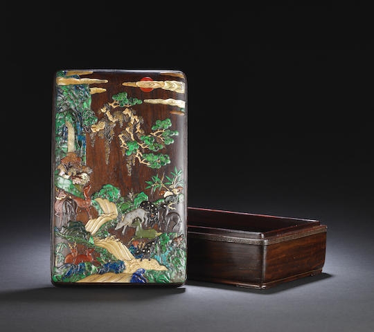 An exceptional finely-inlaid 'hundred deer' zitan box and cover