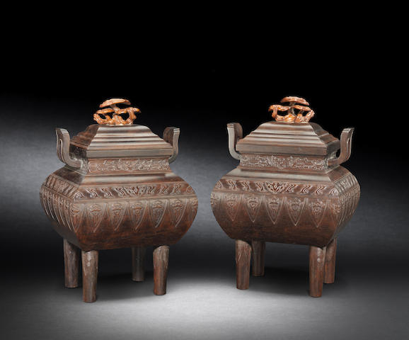 A pair of large archaistic zitan incense burners and covers, fangding