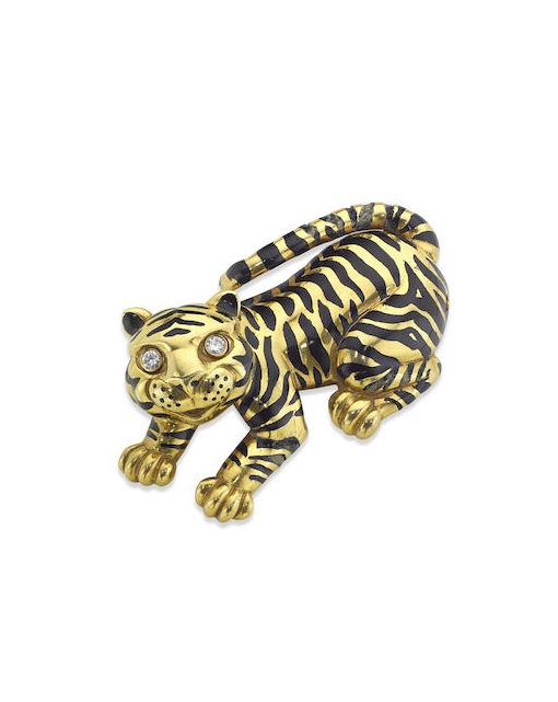 An enamel and diamond tiger brooch