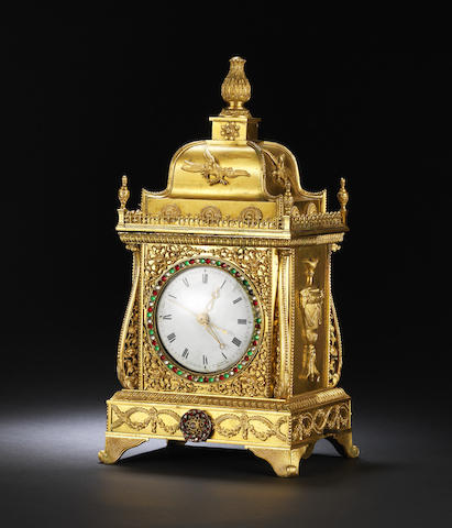An exceptional Chinese ormolu paste-set clock
