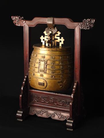 A rare Imperial gilt-bronze archaistic ritual bell, bianzhong