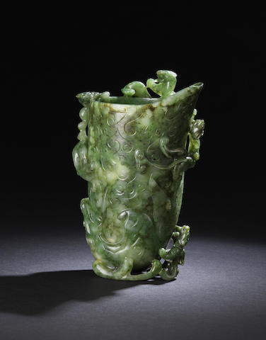 A fine spinach-green jade archaistic 'five-chilong' rhyton cup, gong
