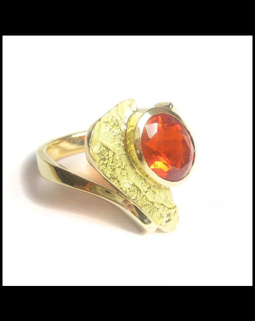 A fire opal ring