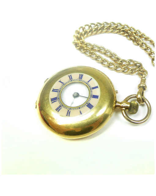 A lady's enamel half hunter fob watch and chain