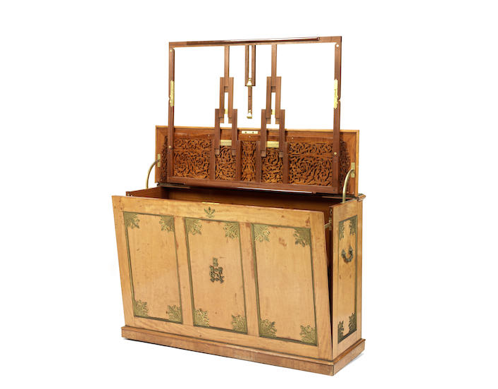 A Fine Victorian satinwood and engraved gilt bronze mounted folio cabinet