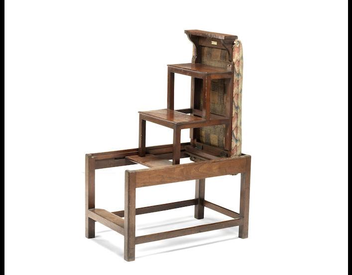 A George III mahogany metamorphic library stool