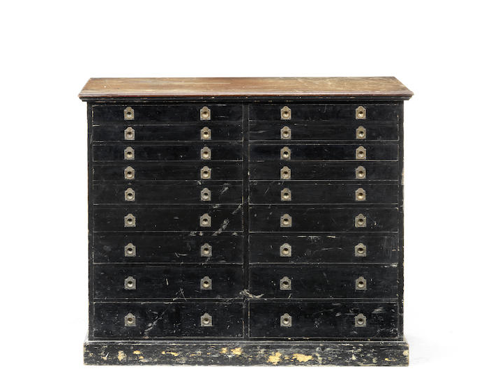 A late 19th century ebonised and mahogany collector's cabinet