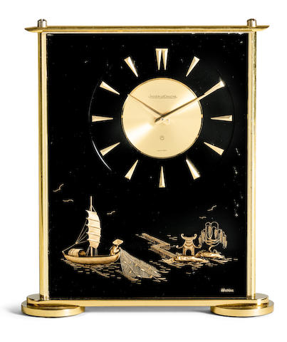 Jaeger-LeCoultre. A brass and acrylic fisherman clock with 8 day power reserve