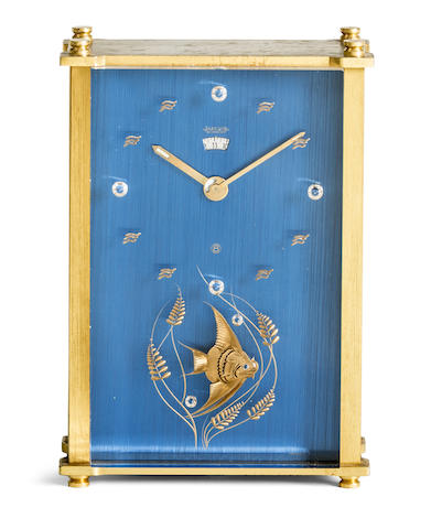 Jaeger-LeCoultre. A brass musical alarm clock with 8 day power reserve