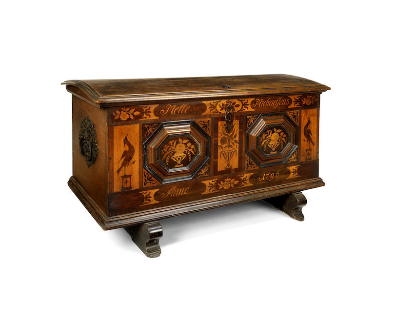 Two Swiss late 18th and early 19th century oak and fruitwood marquetry marriage chests