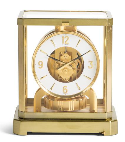 Jaeger-LeCoultre. A gilt brass mantel timepiece