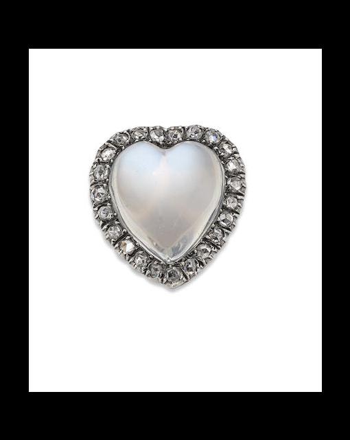 A moonstone and diamond heart-shaped brooch/pendant