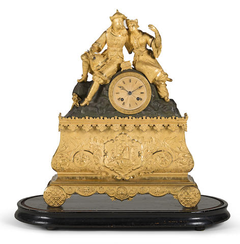 A mid 19th century French patinated and gilt brass mantel clock in the Chinoiserie style