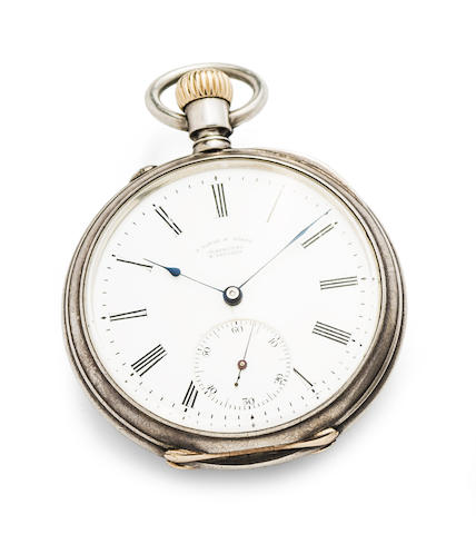 A. Lange & Söhne. A fine silver open face keyless wind pocket watch
