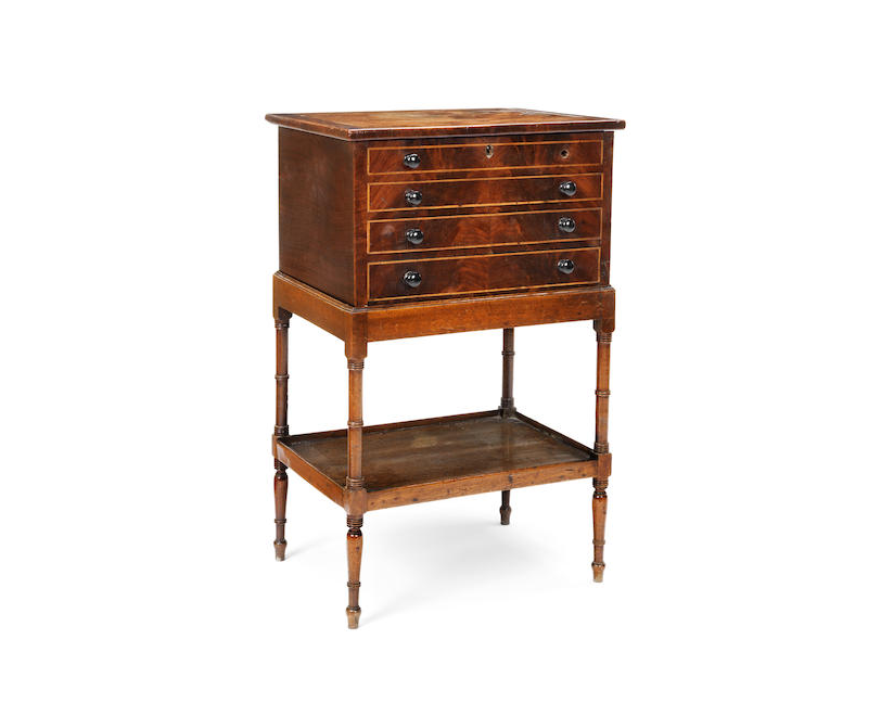 A Regency mahogany and boxwood line inlaid collector's cabinet
