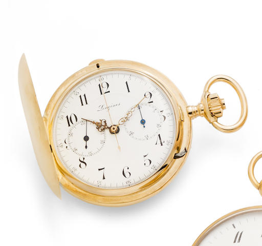 Longines. An 18K gold keyless wind chronograph full hunter pocket watch