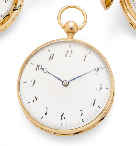 Swiss. A 14K gold key wind quarter repeating open face pocket watch