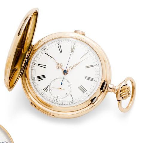 Swiss. A 14K gold keyless wind quarter repeating chronograph full hunter pocket watch
